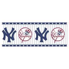 shop allen roth blue and white n y yankees wallpaper border at allen roth blue and white n y yankees wallpaper border
