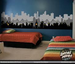 Skyline Wallpaper Bedroom Gotham City Wall Decal Superhero Wall Decal Batman Wall