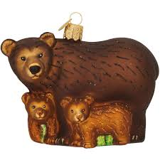 brown bear with cubs glass ornament old world christmas