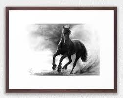 horse art print galloping white mare pencil drawing print
