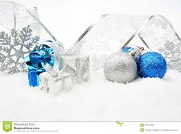 silver blue baubles gifts snowflake with silver ribbon