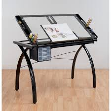 Drafting Table Ls Studio Designs Futura Black With Clear Glass Drafting Table Free