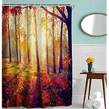 nature shower curtain by ambesonne fall road in park