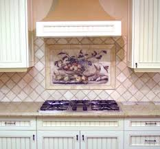 chic decorative tile kitchen backsplash with floral pattern murals