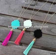 cheap monogram necklace handmade monogram acrylic quatrefoil tassel necklace buy custom