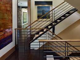 metal stair rails staircase rustic with art brown baseboard