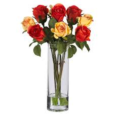 roses w glass vase silk flower arrangement silk specialties