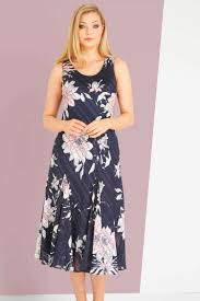 Uk Flag Dress Floral Print Bias Dress In Navy Roman Originals Uk