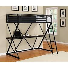 Loft Bed Without Desk Dhp X Twin Metal Loft Bed Over Desk Workstation Black Walmart Com