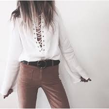white bell sleeve blouse 22 tops sold white lace up bell sleeve blouse top
