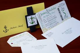 Boarding Pass Wedding Invitations Green Nautical Boarding Pass Wedding Invitations To Kelowna