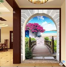 3d flower blossom tree bridge corridor entrance wall mural decals 3d flower blossom tree bridge corridor entrance wall mural decals art print wallpaper 053