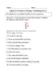 regular adjectives worksheets circling and underlining