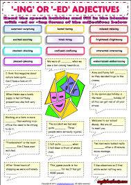 ing or ed adjectives esl grammar exercise worksheet esl
