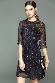 summer dress 2017 women casual star moon print dark blue dress