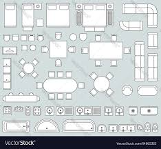 Floor Plan Icons by Top View Interior With Line Furniture Icons Vector Image