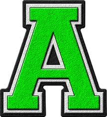 presentation alphabets kelly green varsity letter a