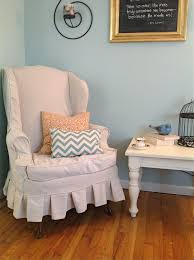 Wingback Chair Slipcover Pattern Wing Chair Slipcover Shades Of Blue Interiors