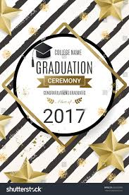 graduation poster graduation ceremony poster design golden stock vector