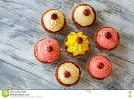 Cherry Cupcake Invitation Card Royalty Top View Of Cupcakes Stock Photo Image 76776969