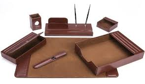 Leather Office Desk Majestic Goods Office Supply Leather Deskset Brown 7