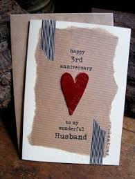 3rd wedding anniversary gift 4th wedding anniversary keepsake card with a linen heart 3 95