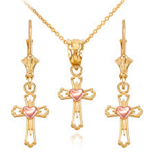 rose tone necklace images Two tone yellow and rose gold heart cross necklace and earring set jpg