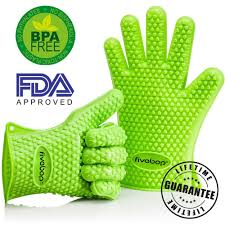 fivebop silicone oven gloves with fingers bbq oven mitts neon