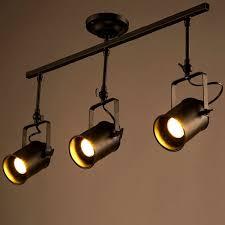 track lighting pendant heads loft vintage led track light triple heads spotlight industrial