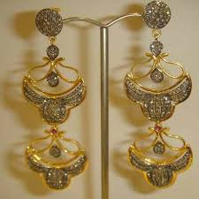 heavy diamond earrings gold jewellery exporter from faridabad