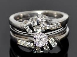 wedding ring jackets wedding set engagement ring jacket white gold 14k 0 62ct diamons