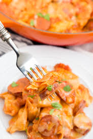 Laura In The Kitchen Pasta One Pan Creamy Tortellini And Smoked Sausage Easy Weeknight Meals