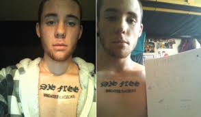 this guy tattooed u0027because racecar u0027 on his chest