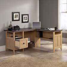 Office Computer Table L Shape Sauder August Hill L Desk Dover Oak Walmart Com