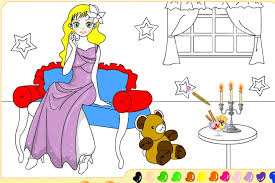 paint katie and her teddy bear game coloring games games loon