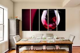 modern kitchen art 5 piece large pictures wine glass photo canvas red wine multi