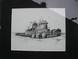 sketch of ocean going tugboat