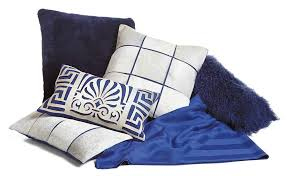 Navy Blue Decorative Pillows Fibre By Auskin Throw Pillows Cowhide Stitched With Linen