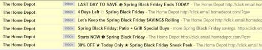 black friday peek home depot spring black friday is so fetch omg email snarketing
