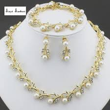 earring necklace sets cheap images Jiayijiaduo classic imitation pearl necklace gold color jewelry jpg