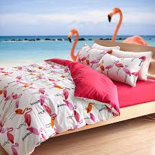 Girls Jungle Bedding by Red And White Girls Flamingo Bird Print Jungle Animal Themed Cute