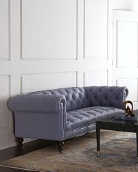 Old Hickory Tannery Morgan Periwinkle Chesterfield Leather Sofa - Hickory leather sofa