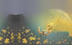 Windart Wallpaper Autumn Mood Leaves Cat The Wind Art Flight