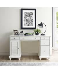 amazing deal on yancy executive desk finish white