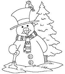 snowman near christmas tree coloring page free printable