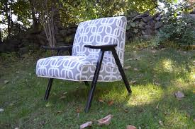 Robert Allen Home Decor Fabric Hand Made Vintage Mid Century Modern Accent Chairs Fully Restored