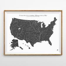 Large Map Of Usa by Hydrology Series