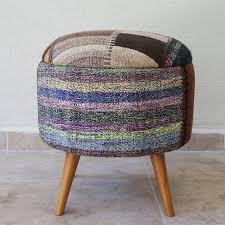 kilim round stool stool covered with vintage kilim rug patchwork