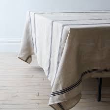oatmeal linen striped tablecloth on food52