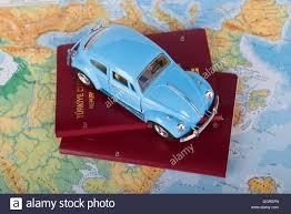 Turkey World Map Travel Concept Top View Of World Map With Blue Toy Car On And